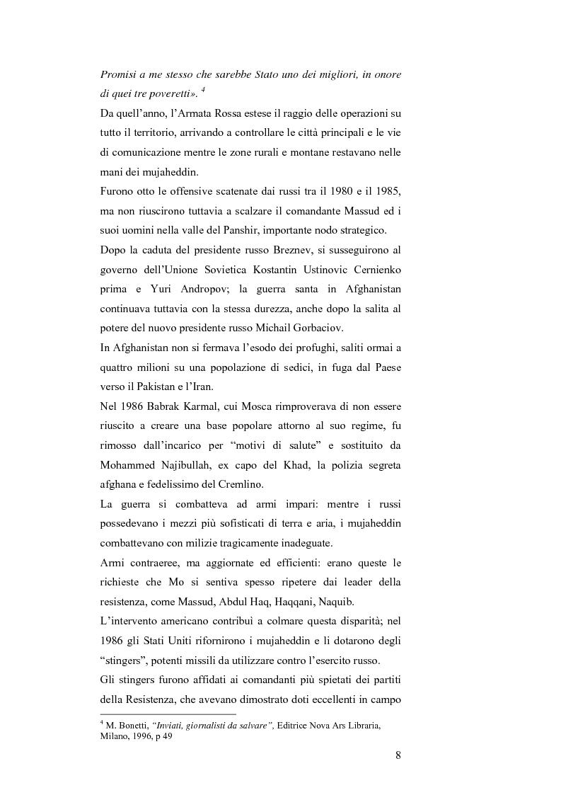 Anteprima della tesi: MASSUD di Ettore Mo. Vita, imprese e morte del ''Leone del Panshir'' Ahmad Shah Massud nelle corrispondenze dell'inviato del ''Corriere della sera'' Ettore Mo, Pagina 7