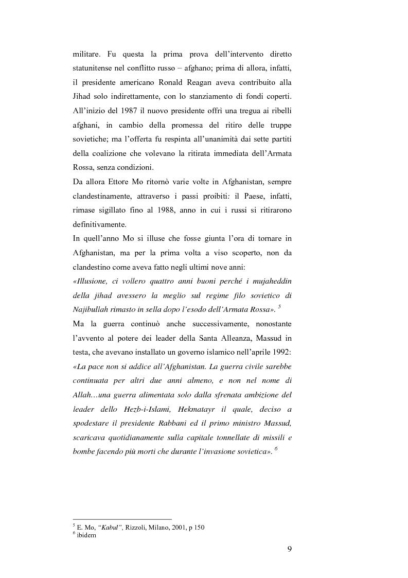 Anteprima della tesi: MASSUD di Ettore Mo. Vita, imprese e morte del ''Leone del Panshir'' Ahmad Shah Massud nelle corrispondenze dell'inviato del ''Corriere della sera'' Ettore Mo, Pagina 8