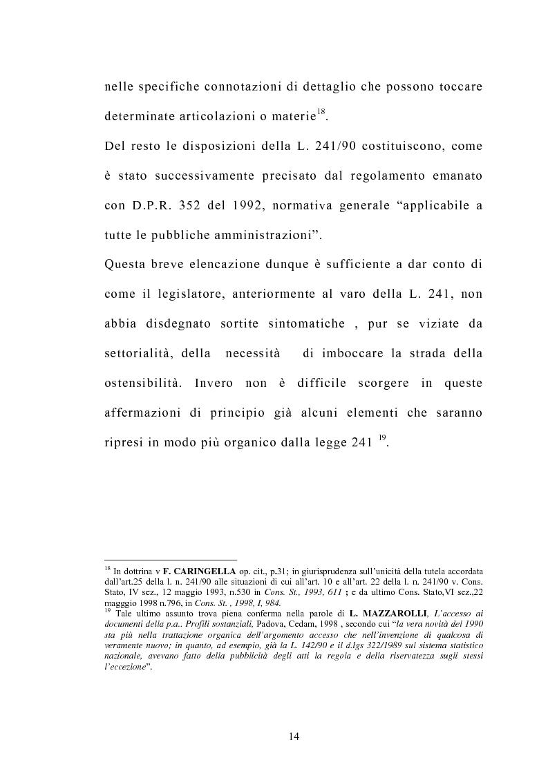 Anteprima della tesi: Accesso e trasparenza nell'attività della Pubblica Amministrazione, Pagina 13