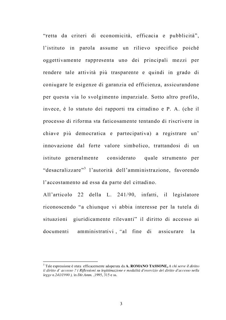 Anteprima della tesi: Accesso e trasparenza nell'attività della Pubblica Amministrazione, Pagina 2
