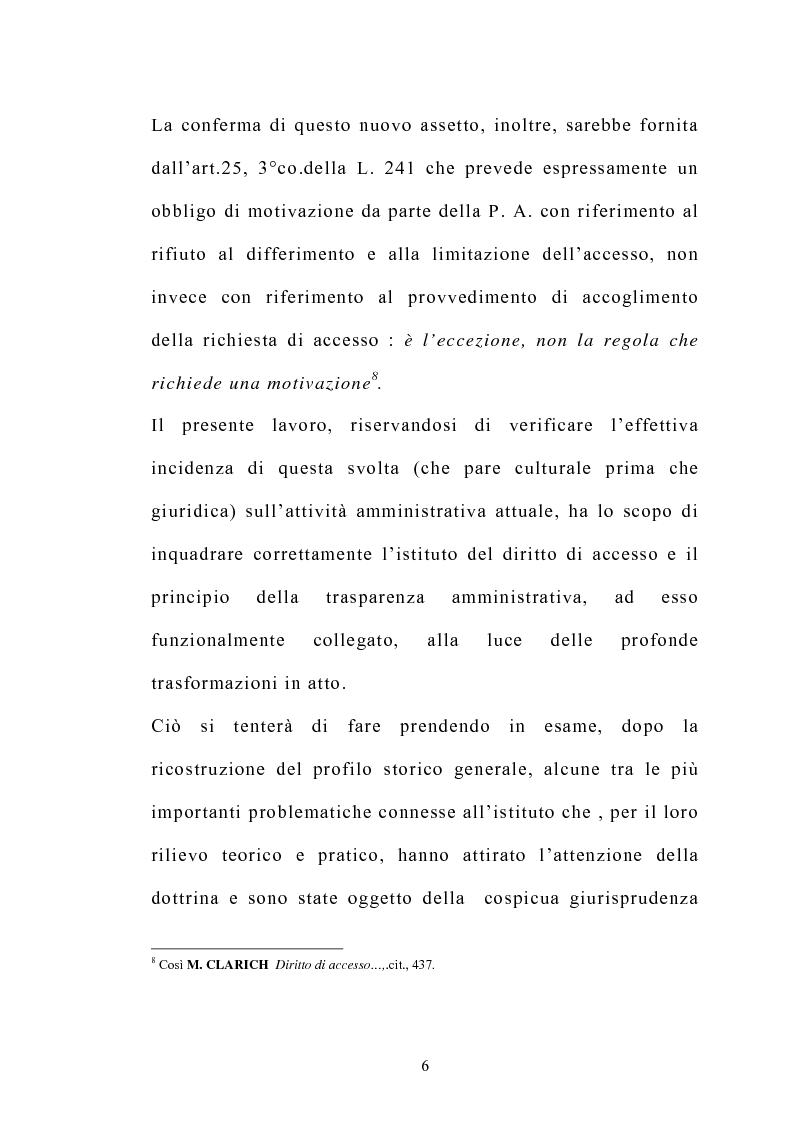 Anteprima della tesi: Accesso e trasparenza nell'attività della Pubblica Amministrazione, Pagina 5