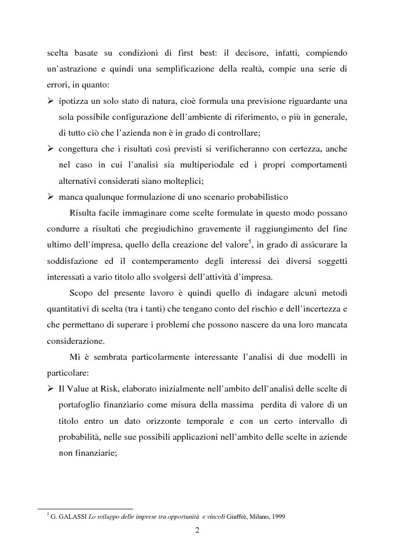 """Anteprima della tesi: Scelte aziendali in condizioni di incertezza: gli usi non finanziari del """"Value at Risk e le Opzioni Reali"""", Pagina 2"""