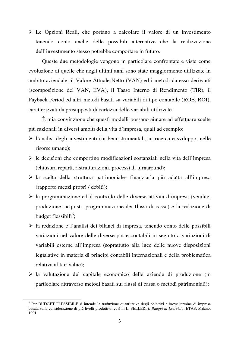 """Anteprima della tesi: Scelte aziendali in condizioni di incertezza: gli usi non finanziari del """"Value at Risk e le Opzioni Reali"""", Pagina 3"""