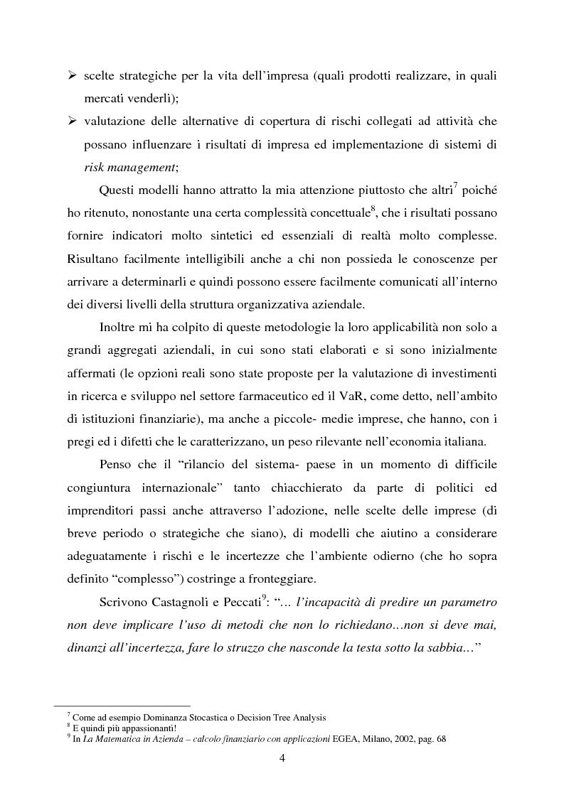 """Anteprima della tesi: Scelte aziendali in condizioni di incertezza: gli usi non finanziari del """"Value at Risk e le Opzioni Reali"""", Pagina 4"""