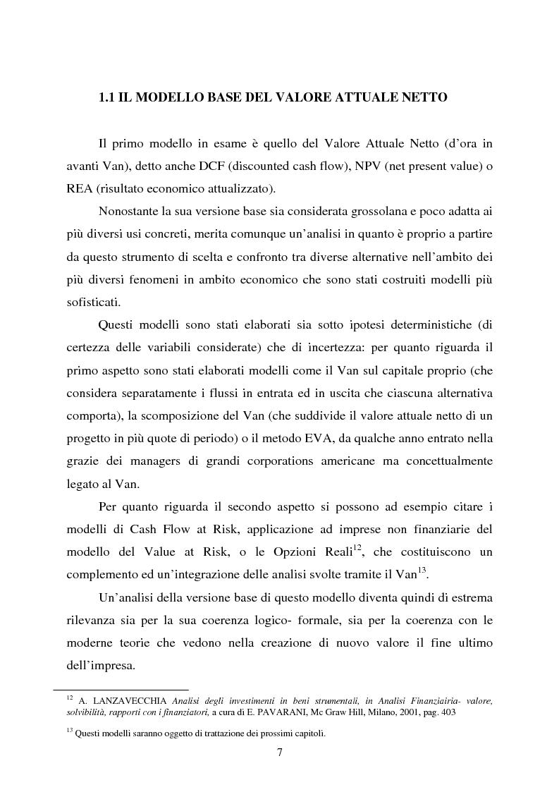 """Anteprima della tesi: Scelte aziendali in condizioni di incertezza: gli usi non finanziari del """"Value at Risk e le Opzioni Reali"""", Pagina 7"""