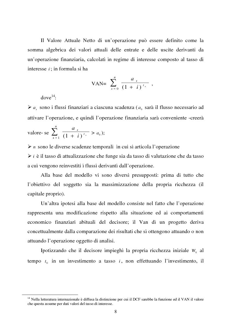 """Anteprima della tesi: Scelte aziendali in condizioni di incertezza: gli usi non finanziari del """"Value at Risk e le Opzioni Reali"""", Pagina 8"""