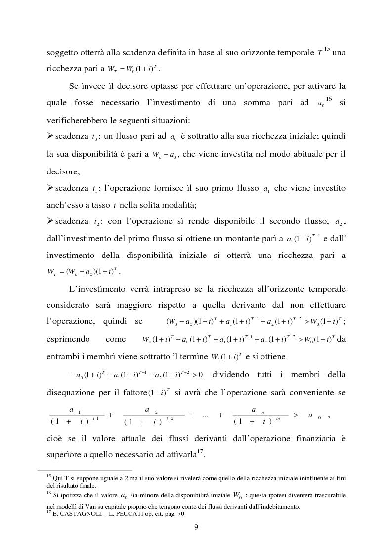 """Anteprima della tesi: Scelte aziendali in condizioni di incertezza: gli usi non finanziari del """"Value at Risk e le Opzioni Reali"""", Pagina 9"""