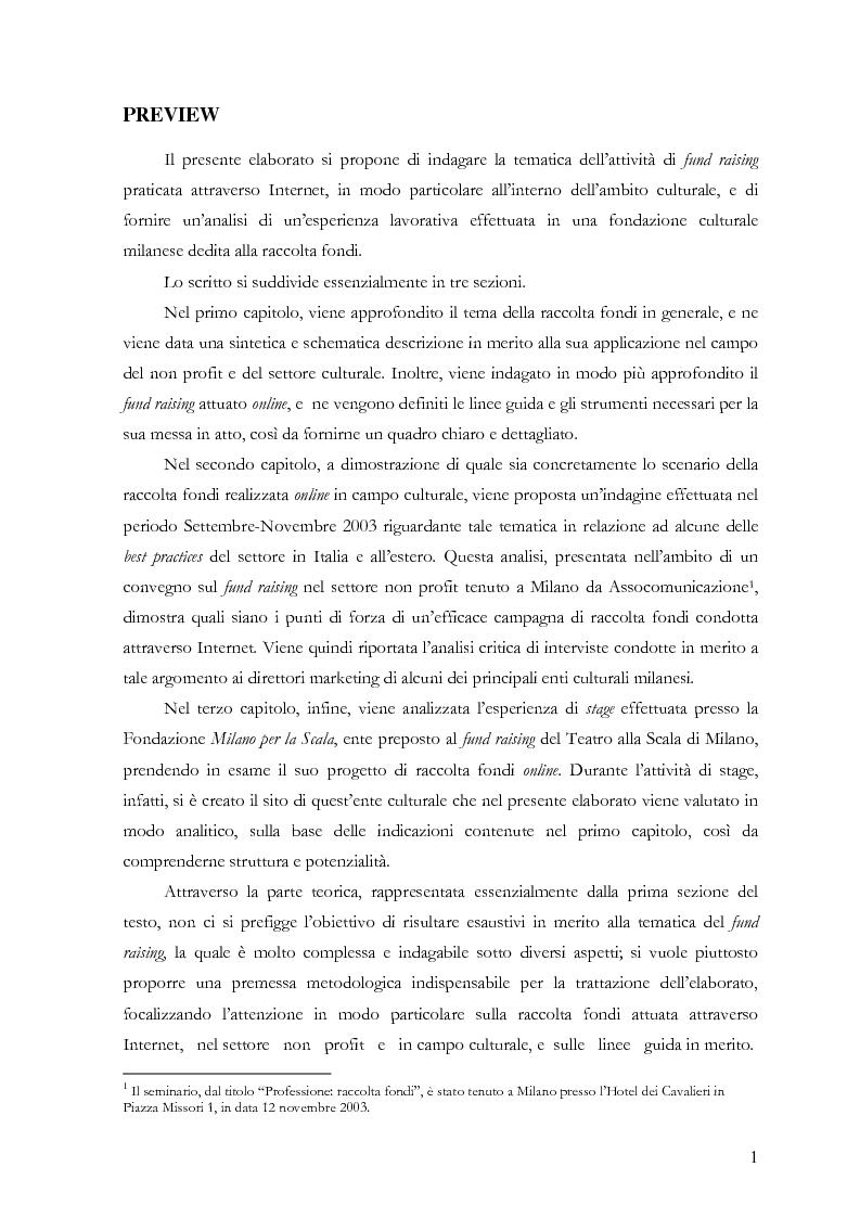 Anteprima della tesi: Il fund raising online degli enti culturali. Analisi del progetto per la fondazione Milano per la Scala, Pagina 1