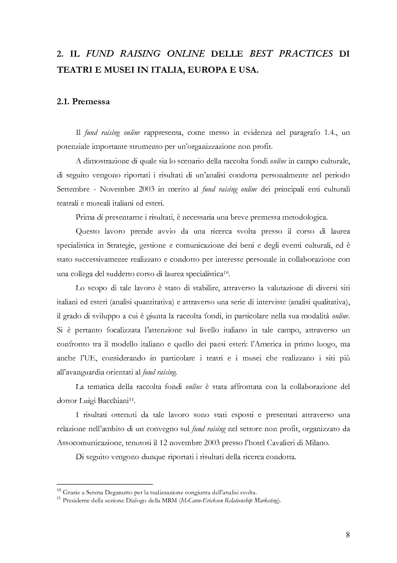 Anteprima della tesi: Il fund raising online degli enti culturali. Analisi del progetto per la fondazione Milano per la Scala, Pagina 8