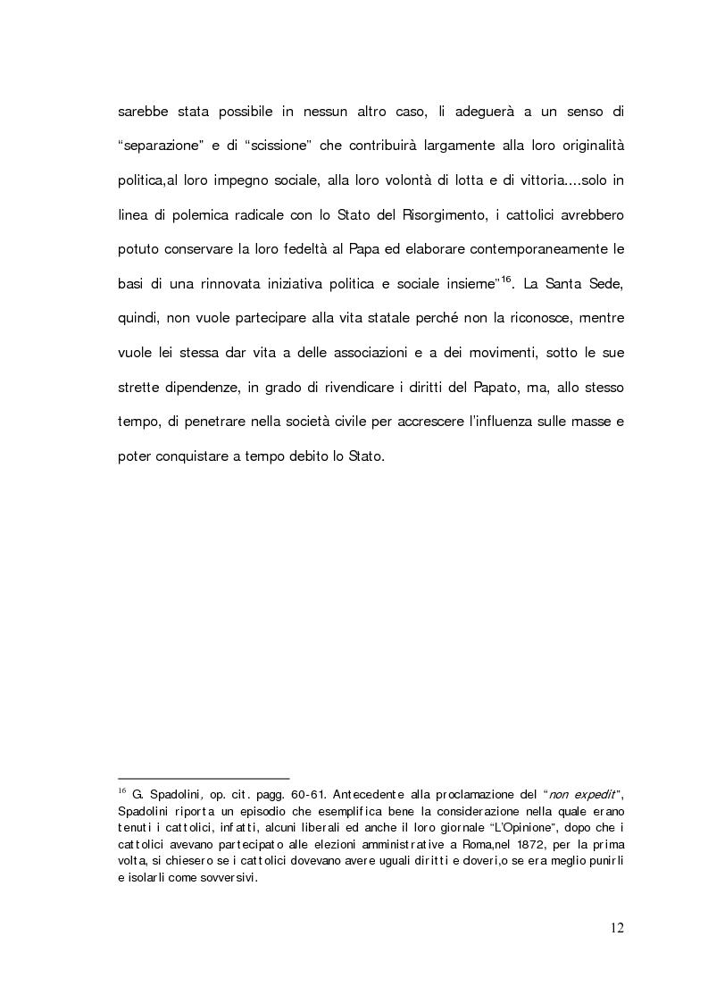 """Anteprima della tesi: Il problema della partecipazione dei cattolici alla vita politica. Dal """"non expedit"""" fino alla nascita del Partito Popolare., Pagina 10"""
