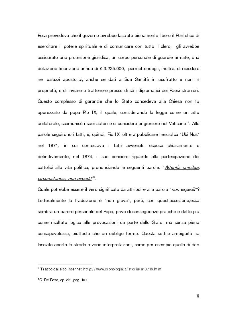 """Anteprima della tesi: Il problema della partecipazione dei cattolici alla vita politica. Dal """"non expedit"""" fino alla nascita del Partito Popolare., Pagina 6"""