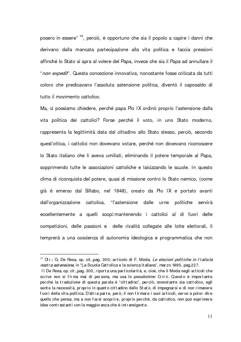 """Anteprima della tesi: Il problema della partecipazione dei cattolici alla vita politica. Dal """"non expedit"""" fino alla nascita del Partito Popolare., Pagina 9"""
