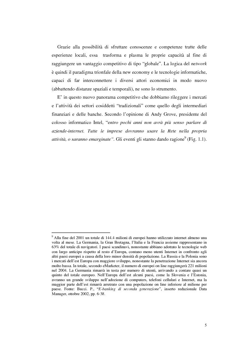 Anteprima della tesi: E-Banking : Linee strategiche ed evolutive del sistema bancario. Il caso delle banche di credito cooperativo, Pagina 10