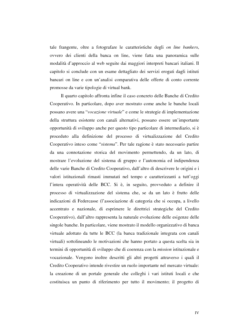 Anteprima della tesi: E-Banking : Linee strategiche ed evolutive del sistema bancario. Il caso delle banche di credito cooperativo, Pagina 4