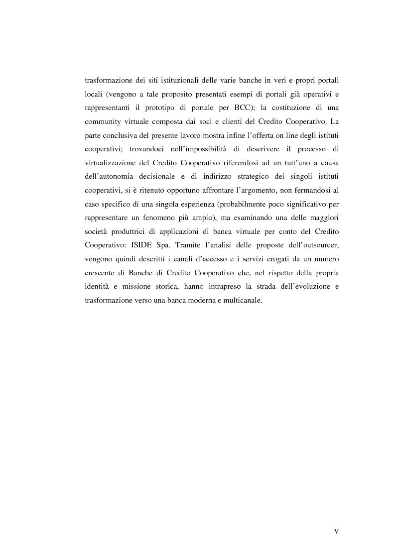 Anteprima della tesi: E-Banking : Linee strategiche ed evolutive del sistema bancario. Il caso delle banche di credito cooperativo, Pagina 5
