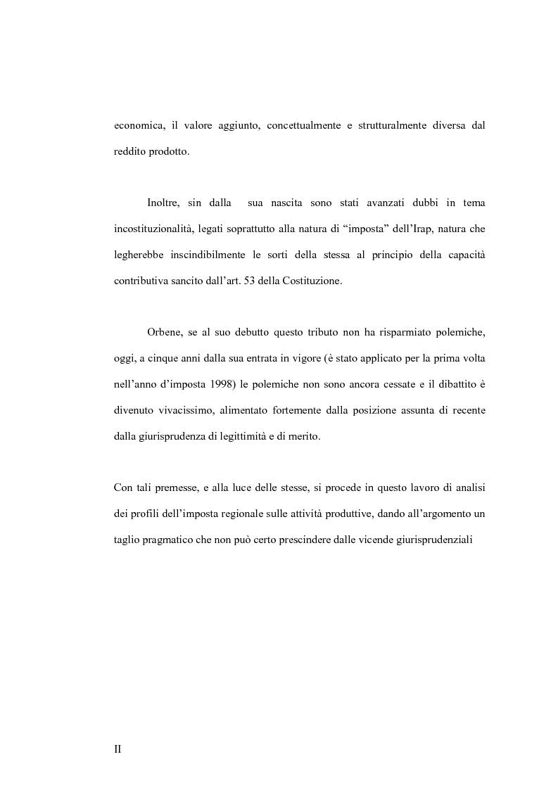 Anteprima della tesi: IRAP: Imposta Regionale sulle Attività Produttive, Pagina 2