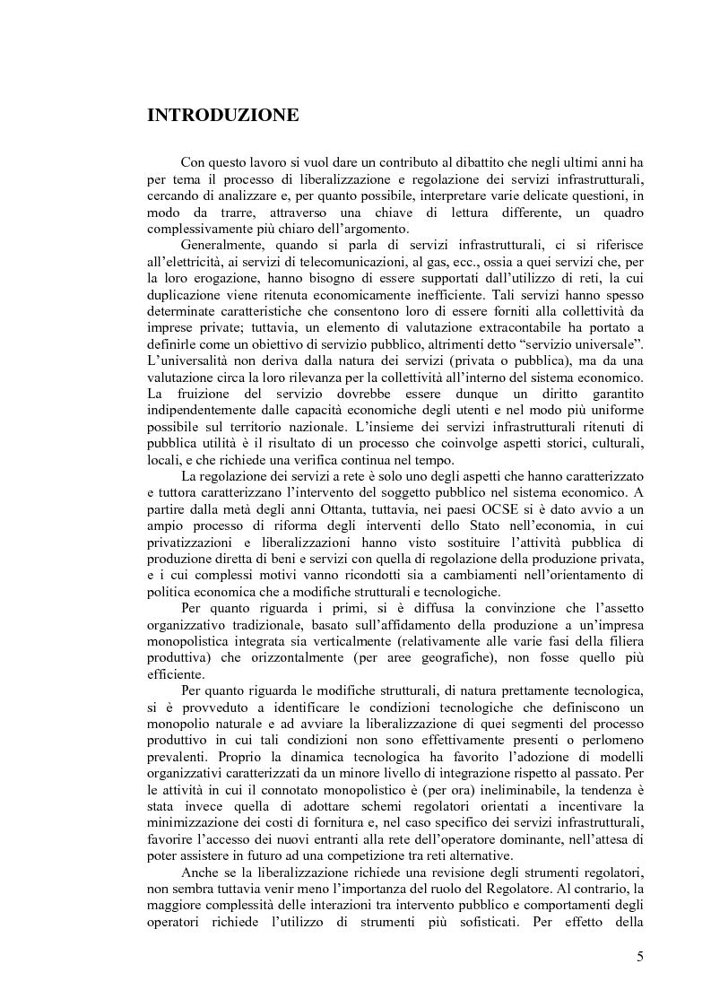 Anteprima della tesi: I servizi a rete: liberalizzazione e regolazione, con particolare attenzione al settore delle telecomunicazioni., Pagina 1