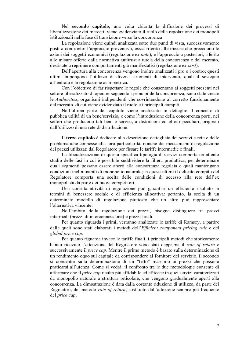 Anteprima della tesi: I servizi a rete: liberalizzazione e regolazione, con particolare attenzione al settore delle telecomunicazioni., Pagina 3