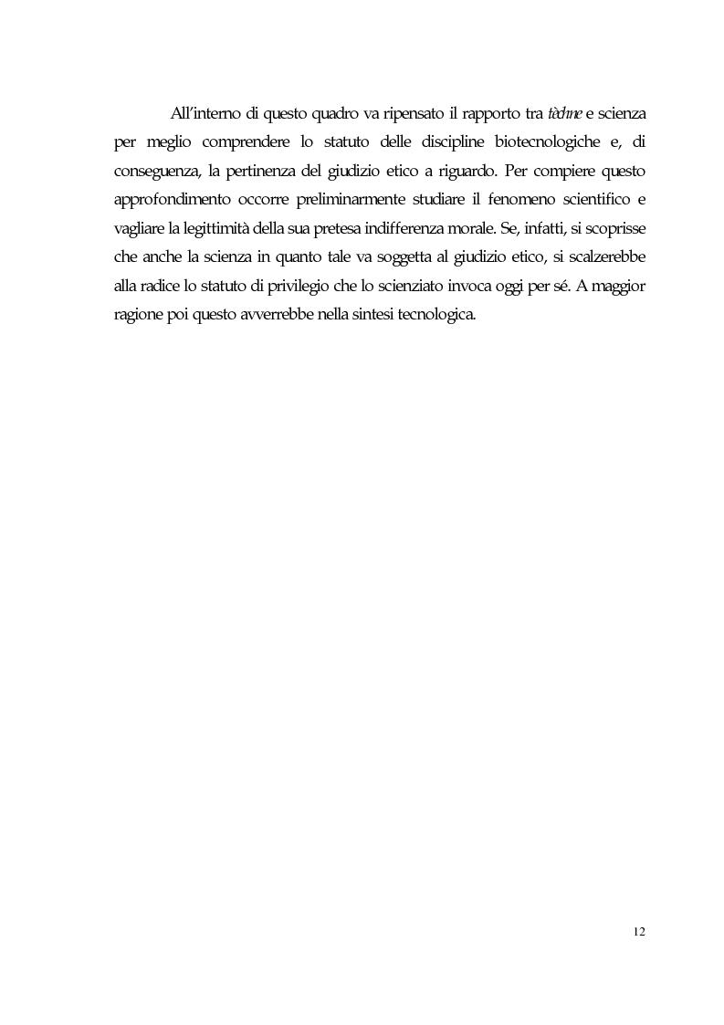 Anteprima della tesi: Sviluppo tecno-scientifico e riflessione bioetica, Pagina 11