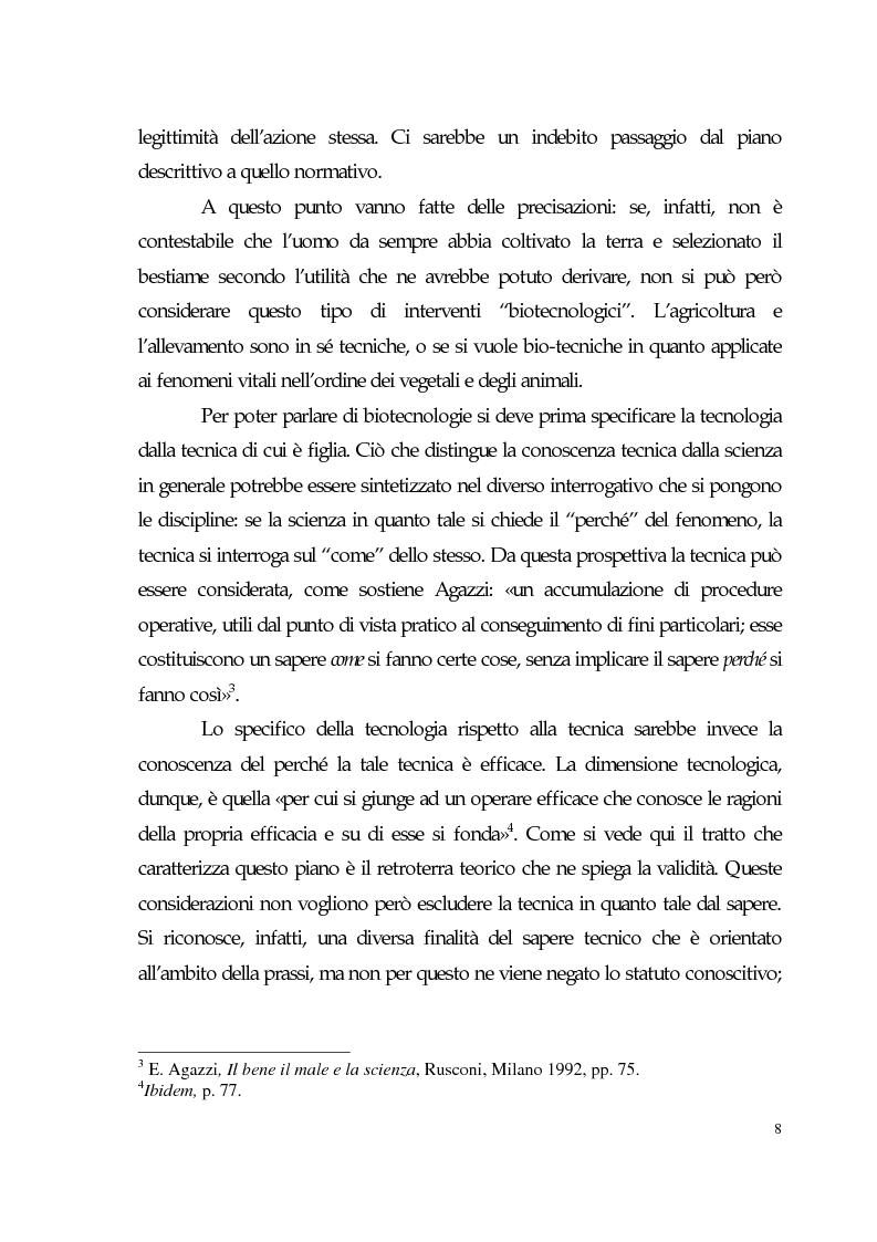 Anteprima della tesi: Sviluppo tecno-scientifico e riflessione bioetica, Pagina 7