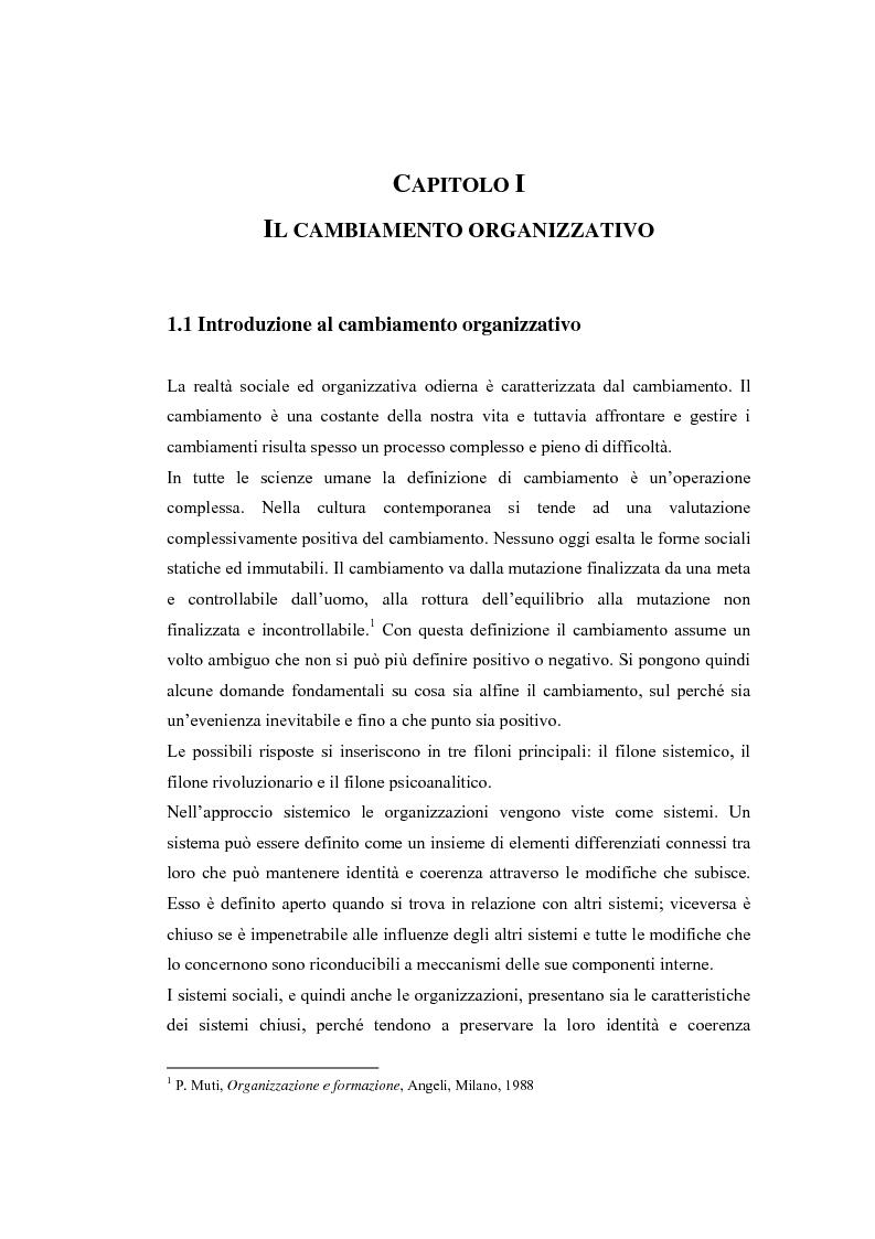 Anteprima della tesi: La formazione nei processi di cambiamento organizzativo. Il caso Inps, Pagina 1