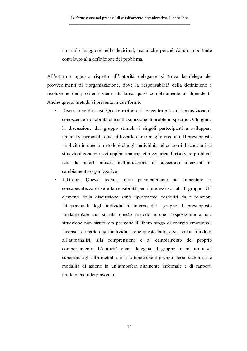 Anteprima della tesi: La formazione nei processi di cambiamento organizzativo. Il caso Inps, Pagina 11