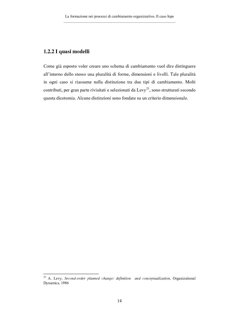 Anteprima della tesi: La formazione nei processi di cambiamento organizzativo. Il caso Inps, Pagina 14