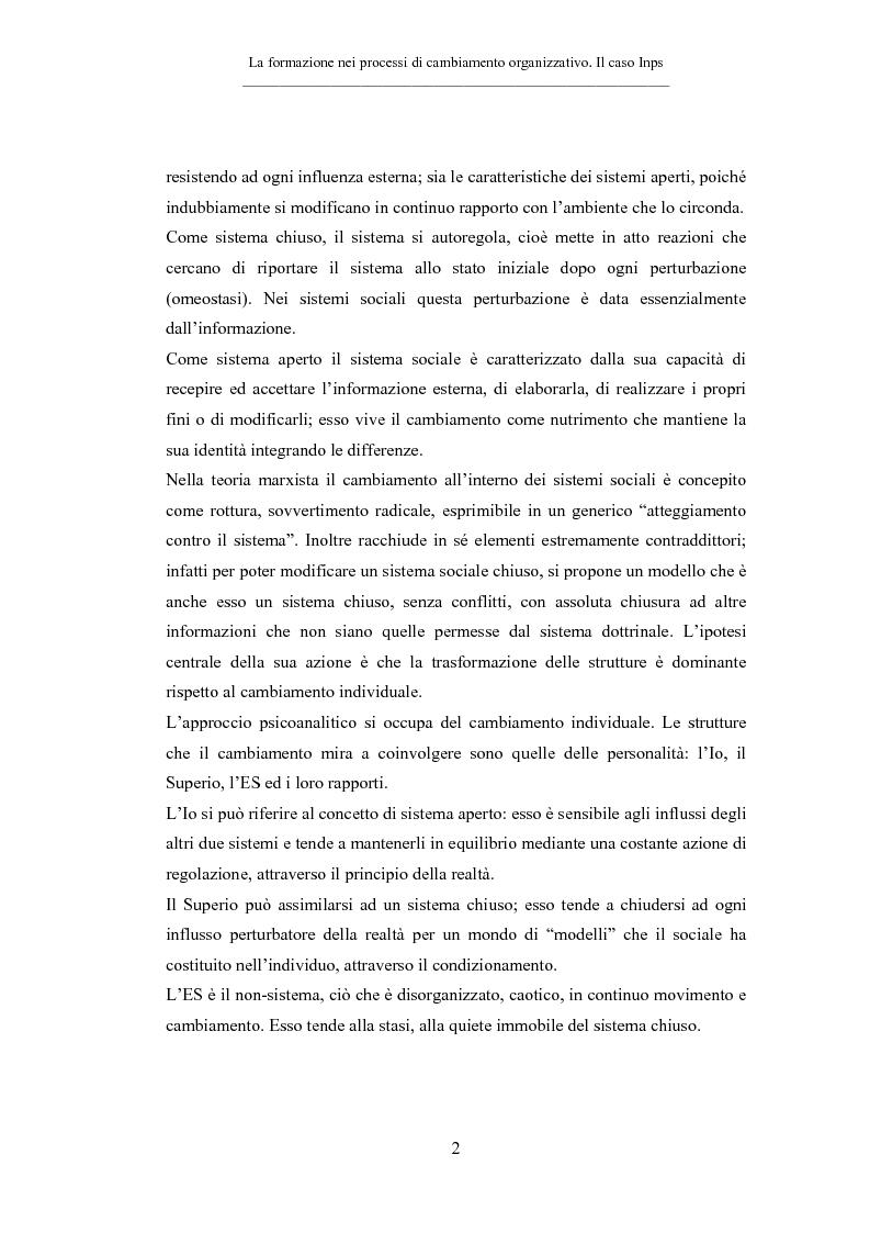 Anteprima della tesi: La formazione nei processi di cambiamento organizzativo. Il caso Inps, Pagina 2