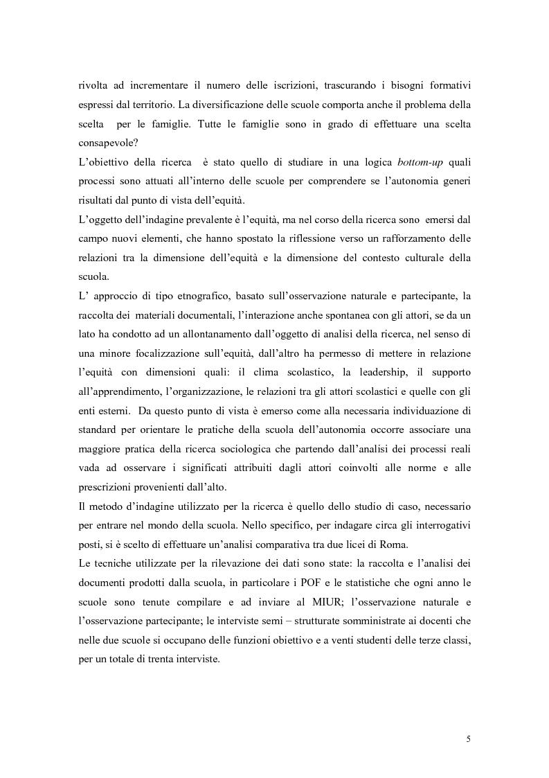Anteprima della tesi: Pratiche per l'equità nella scuola dell'autonomia: due casi di studio., Pagina 2