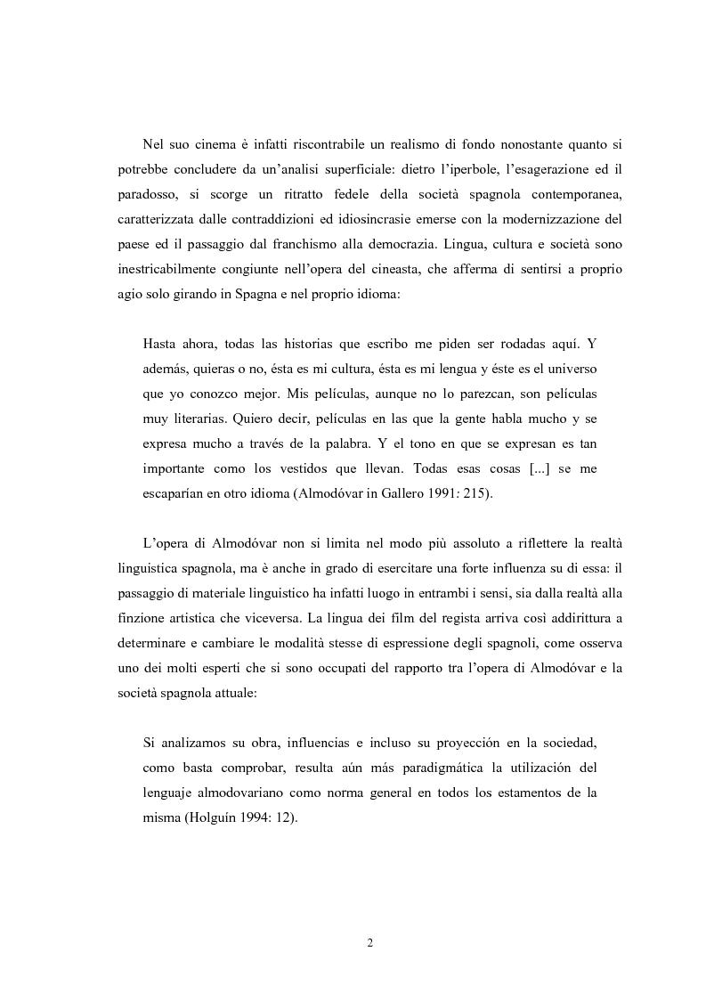 Anteprima della tesi: La traduzione di una sceneggiatura cinematografica e l'analisi dell'adattamento di un film: il caso di La flor de mi secreto di Pedro Almodovar, Pagina 2