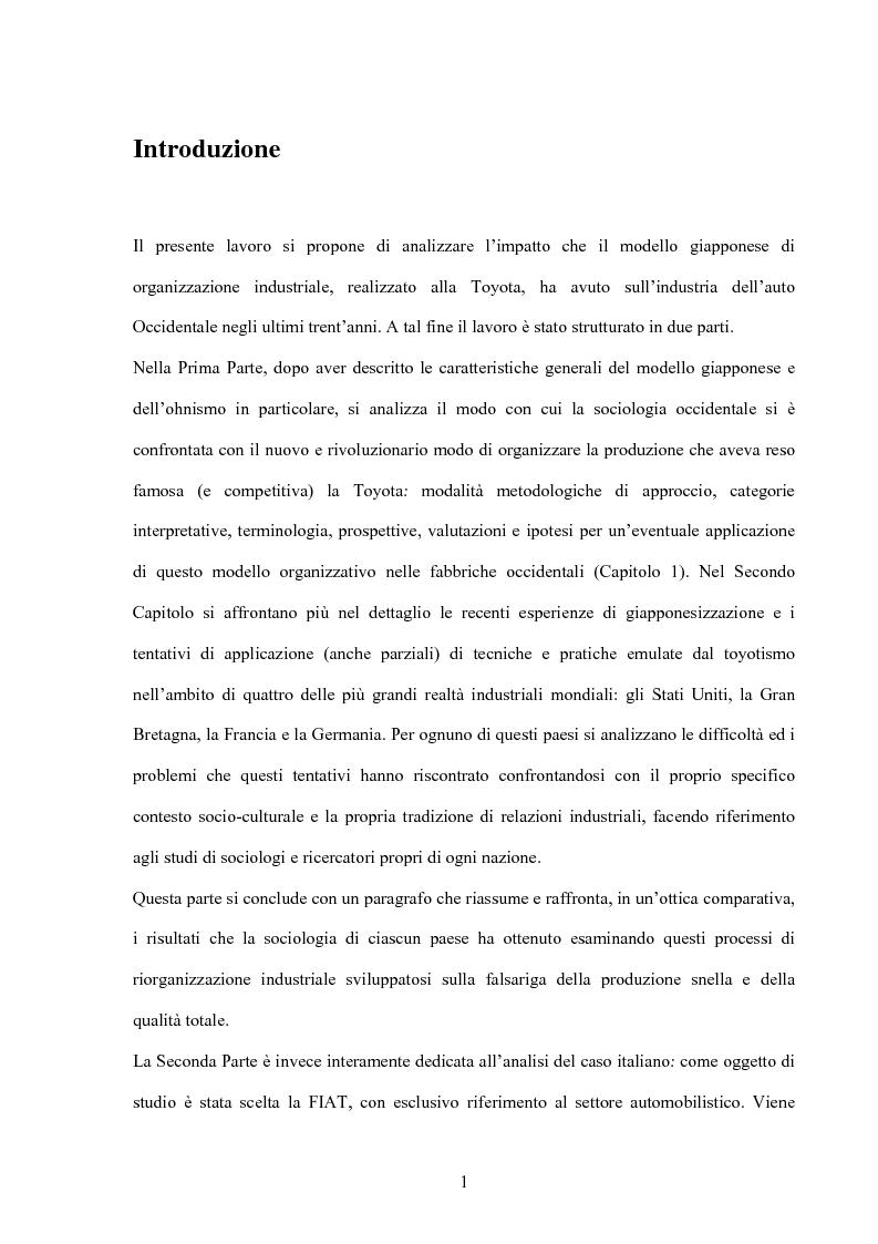 Anteprima della tesi: Modello giapponese e produzione snella: sviluppi ed applicazioni nell'industria automobilistica occidentale, Pagina 1
