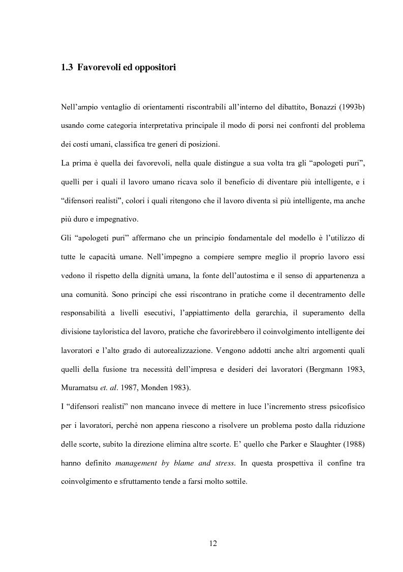 Anteprima della tesi: Modello giapponese e produzione snella: sviluppi ed applicazioni nell'industria automobilistica occidentale, Pagina 12