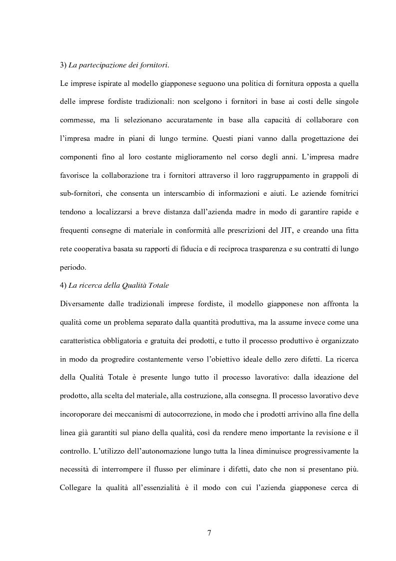 Anteprima della tesi: Modello giapponese e produzione snella: sviluppi ed applicazioni nell'industria automobilistica occidentale, Pagina 7