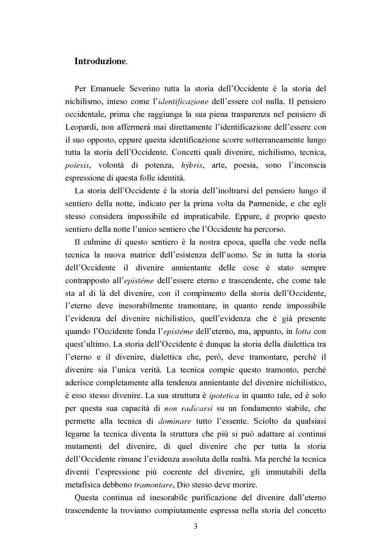Anteprima della tesi: Nichilismo, téchne e poesia nel pensiero di Emanuele Severino, Pagina 1