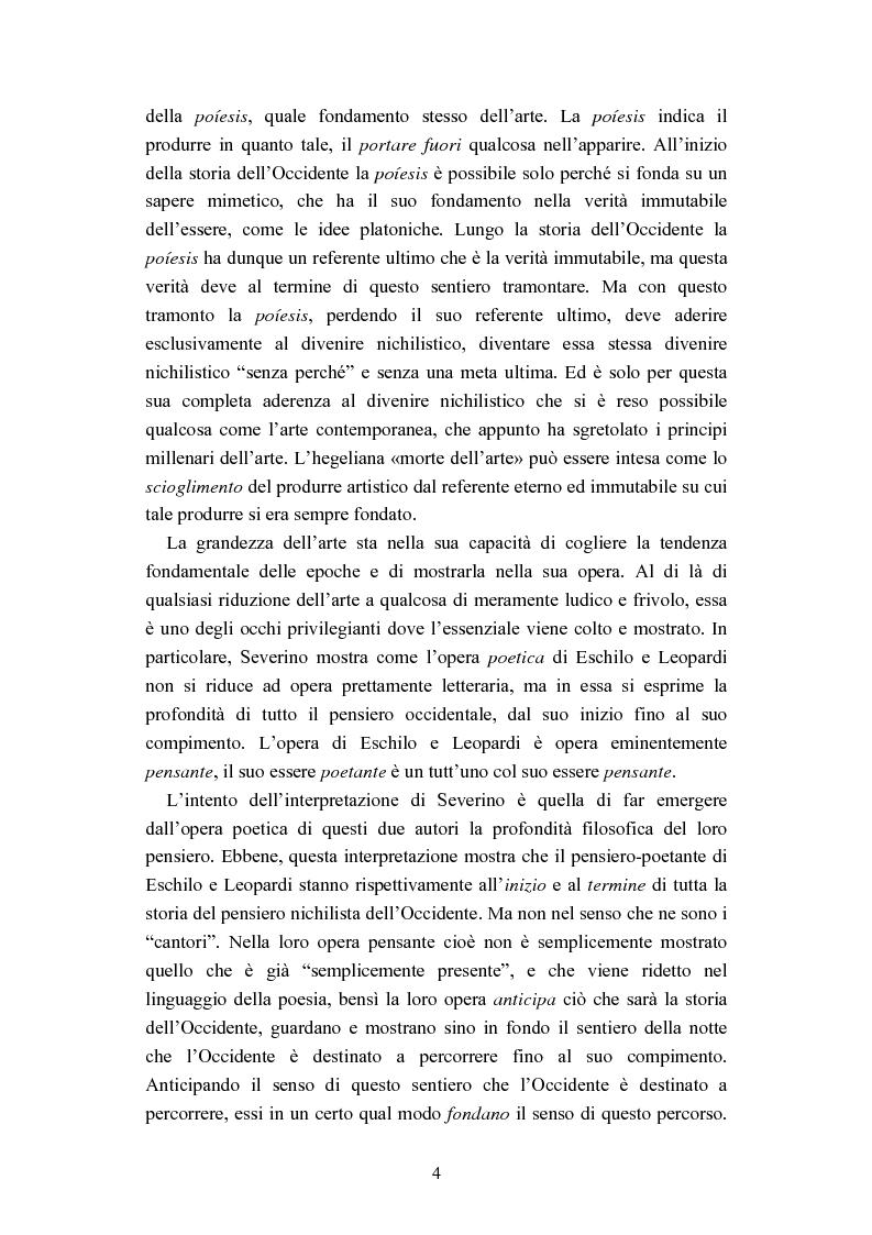 Anteprima della tesi: Nichilismo, téchne e poesia nel pensiero di Emanuele Severino, Pagina 2