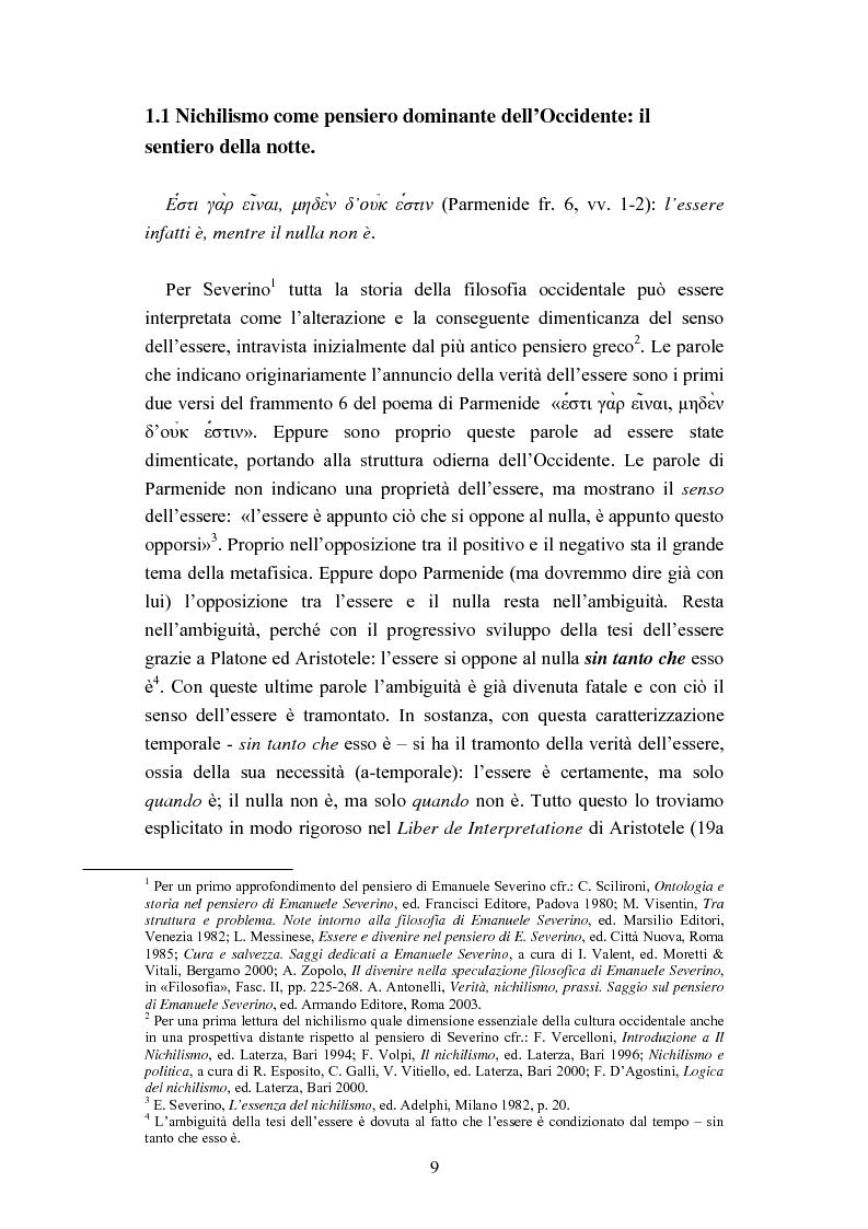 Anteprima della tesi: Nichilismo, téchne e poesia nel pensiero di Emanuele Severino, Pagina 7