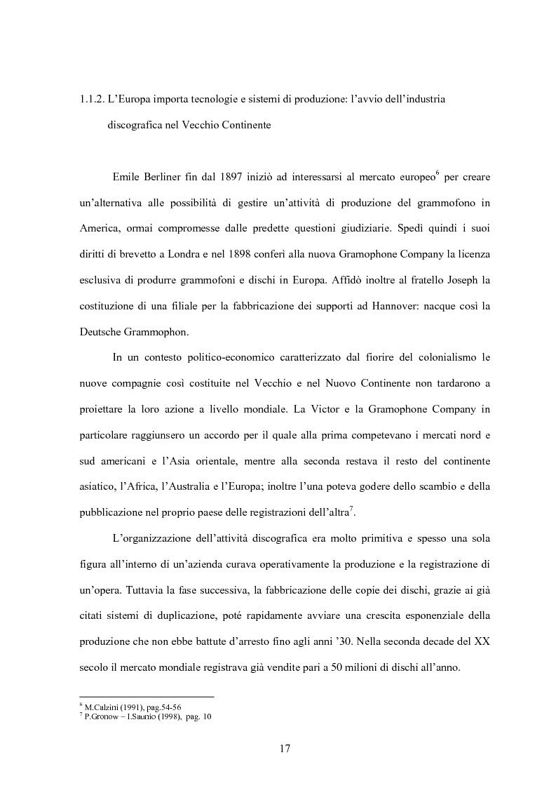 Anteprima della tesi: La concentrazione nel settore dell'industria discografica: le majors e la loro presenza sul mercato, Pagina 13