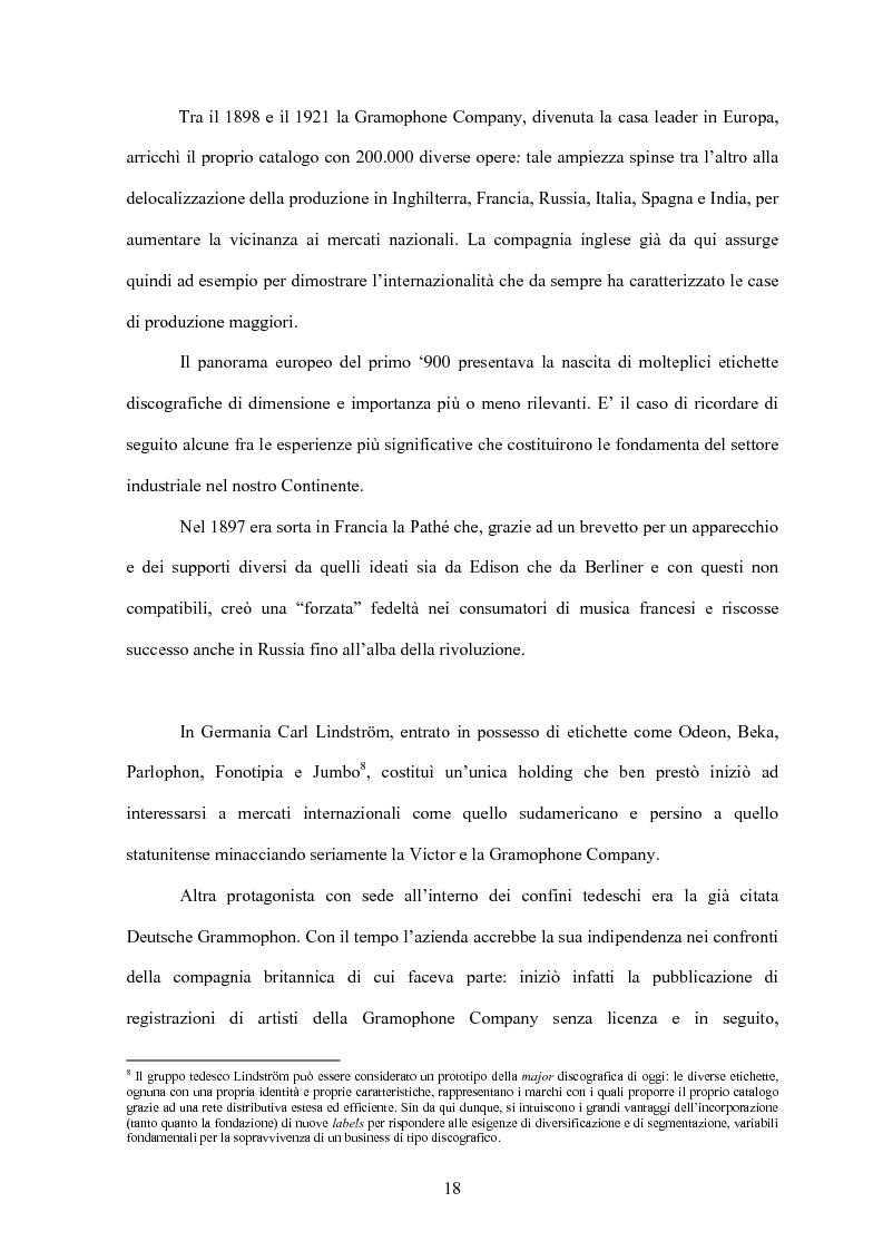 Anteprima della tesi: La concentrazione nel settore dell'industria discografica: le majors e la loro presenza sul mercato, Pagina 14