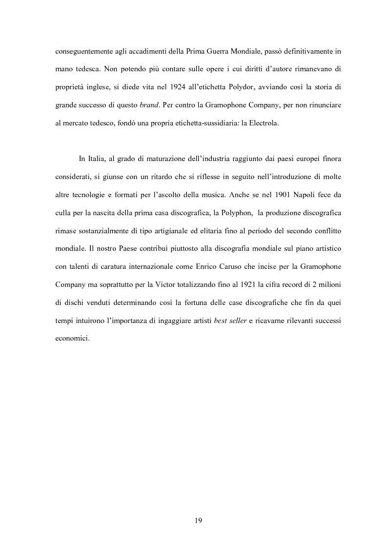 Anteprima della tesi: La concentrazione nel settore dell'industria discografica: le majors e la loro presenza sul mercato, Pagina 15
