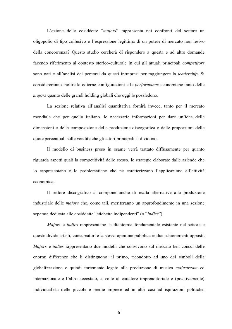 Anteprima della tesi: La concentrazione nel settore dell'industria discografica: le majors e la loro presenza sul mercato, Pagina 2