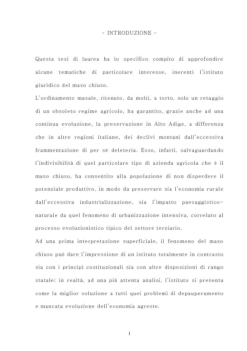 Anteprima della tesi: Il maso chiuso, Pagina 1
