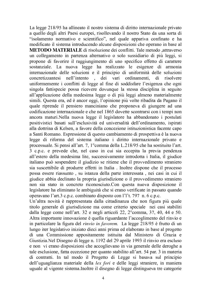 Anteprima della tesi: La giustizia materiale quale obiettivo del diritto intenazioanle privato, Pagina 4