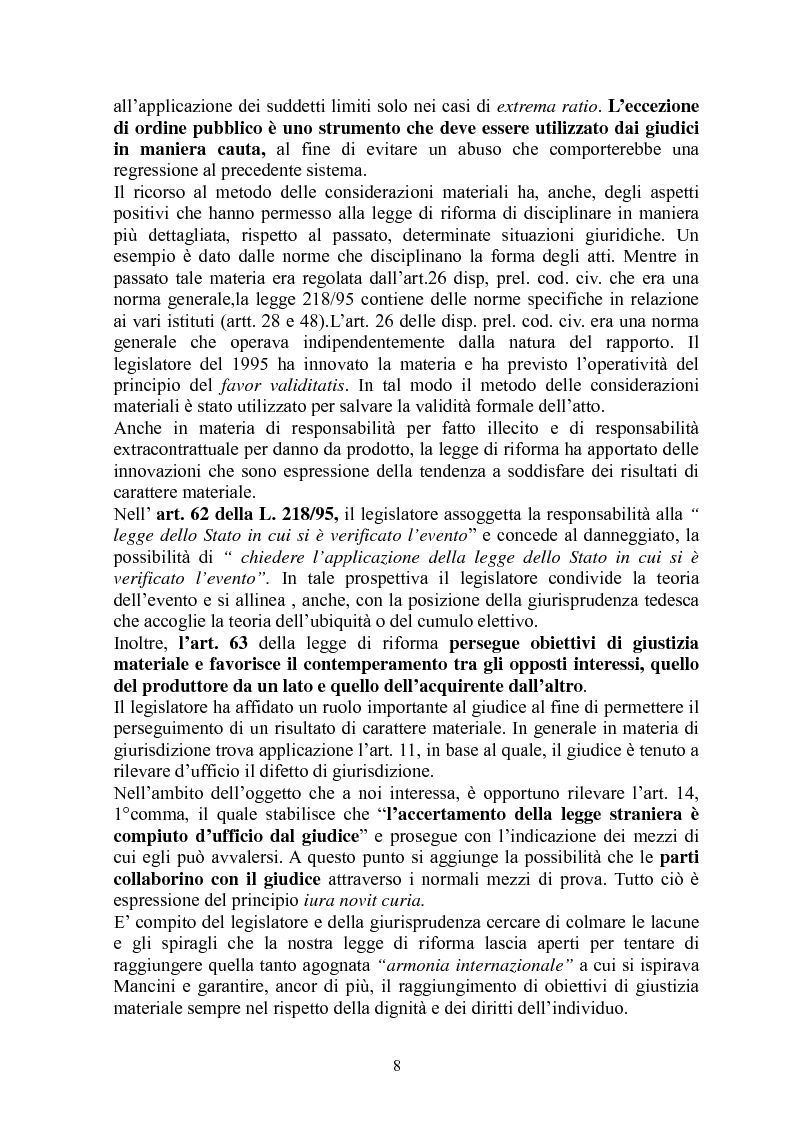 Anteprima della tesi: La giustizia materiale quale obiettivo del diritto intenazioanle privato, Pagina 8