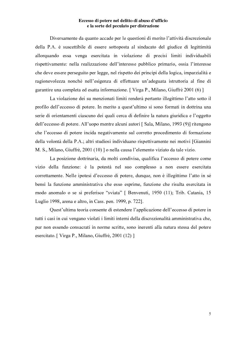 Anteprima della tesi: Eccesso di potere nel delitto di abuso d'ufficio e la sorte del peculato per distrazione, Pagina 3