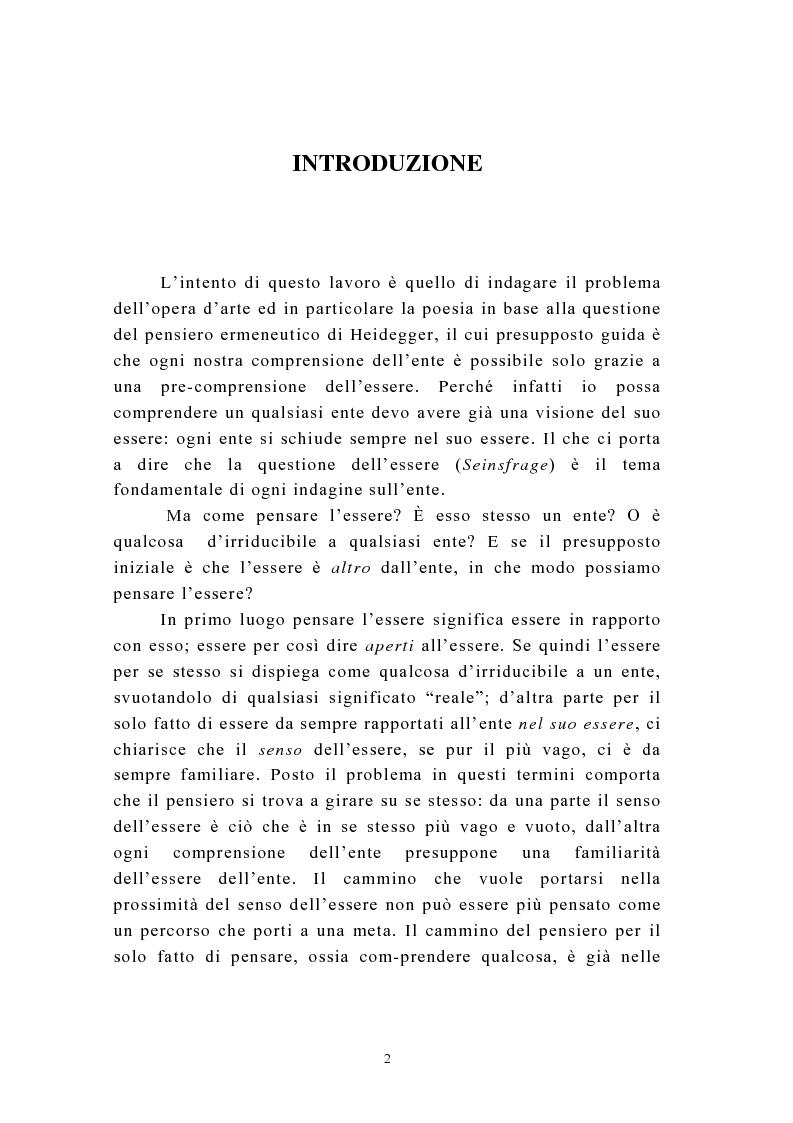 Anteprima della tesi: Martin Heidegger e il problema dell'opera d'arte: la questione ermeneutica, Pagina 1
