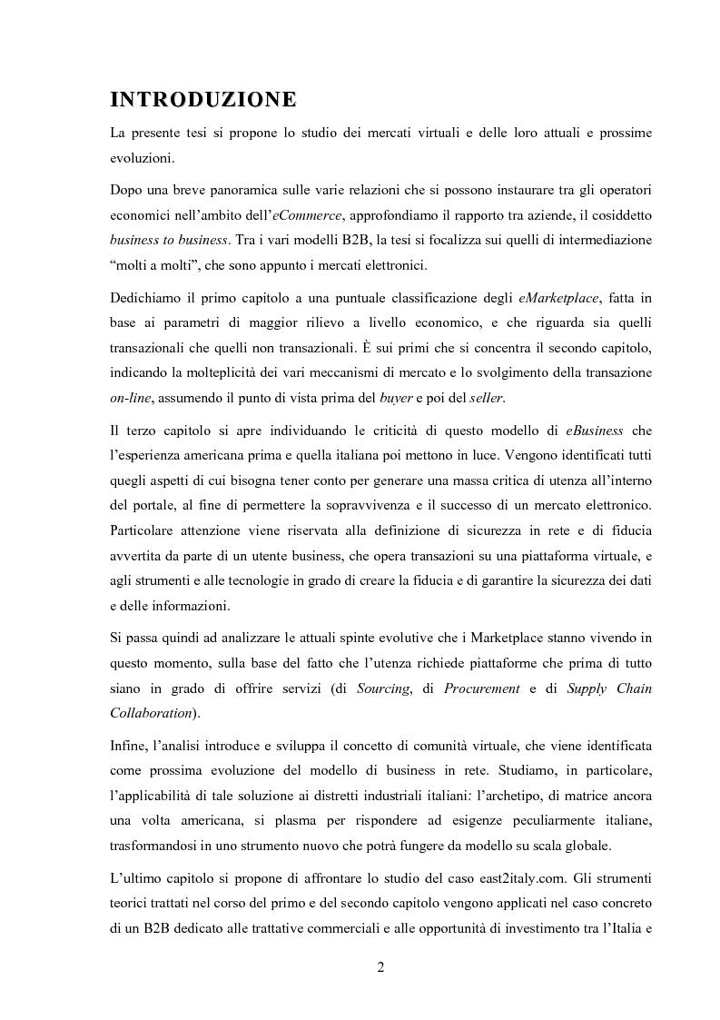 Anteprima della tesi: I mercati virtuali e il caso '' east2italy.com '', Pagina 1