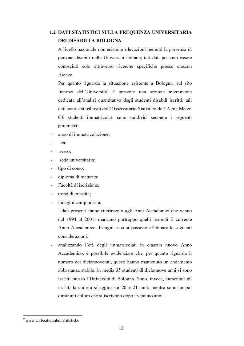 Anteprima della tesi: Università di Bologna ed handicap: chi studia valuta i servizi, Pagina 12