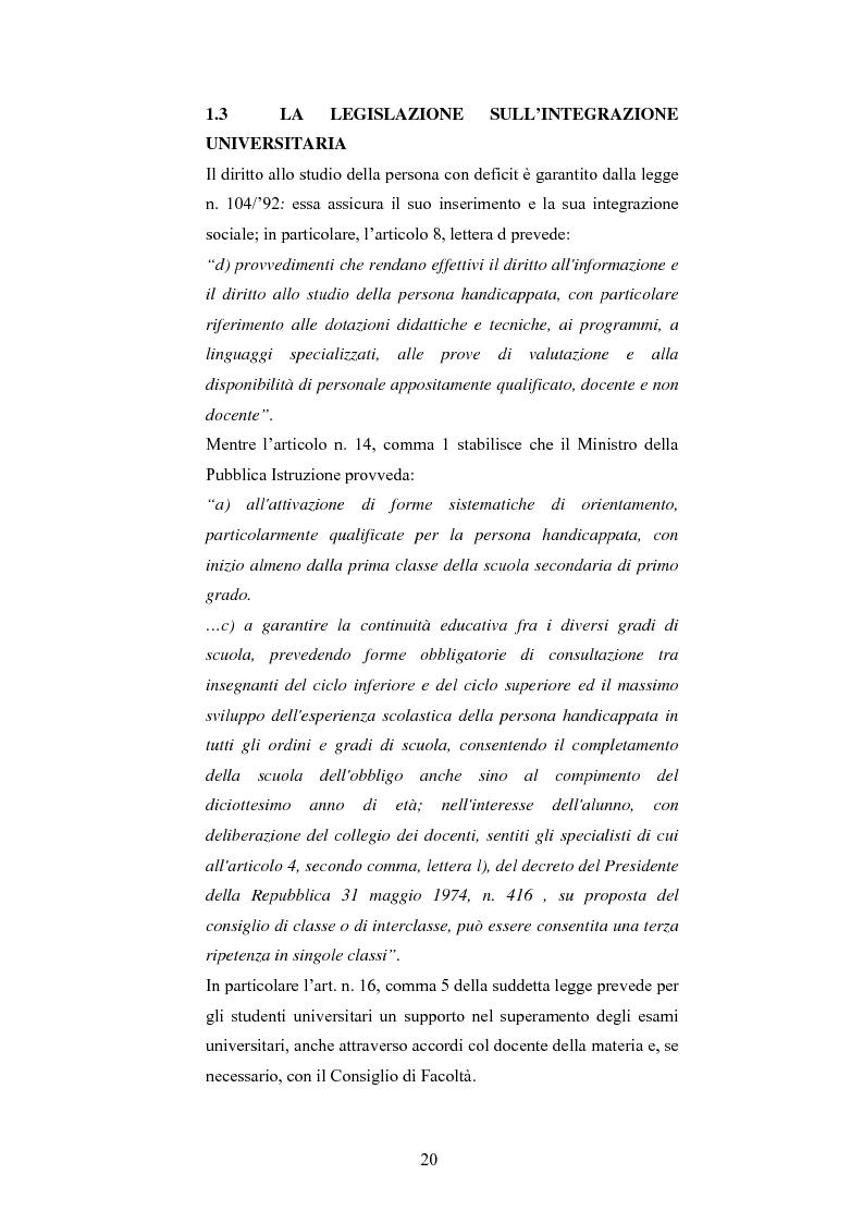 Anteprima della tesi: Università di Bologna ed handicap: chi studia valuta i servizi, Pagina 14