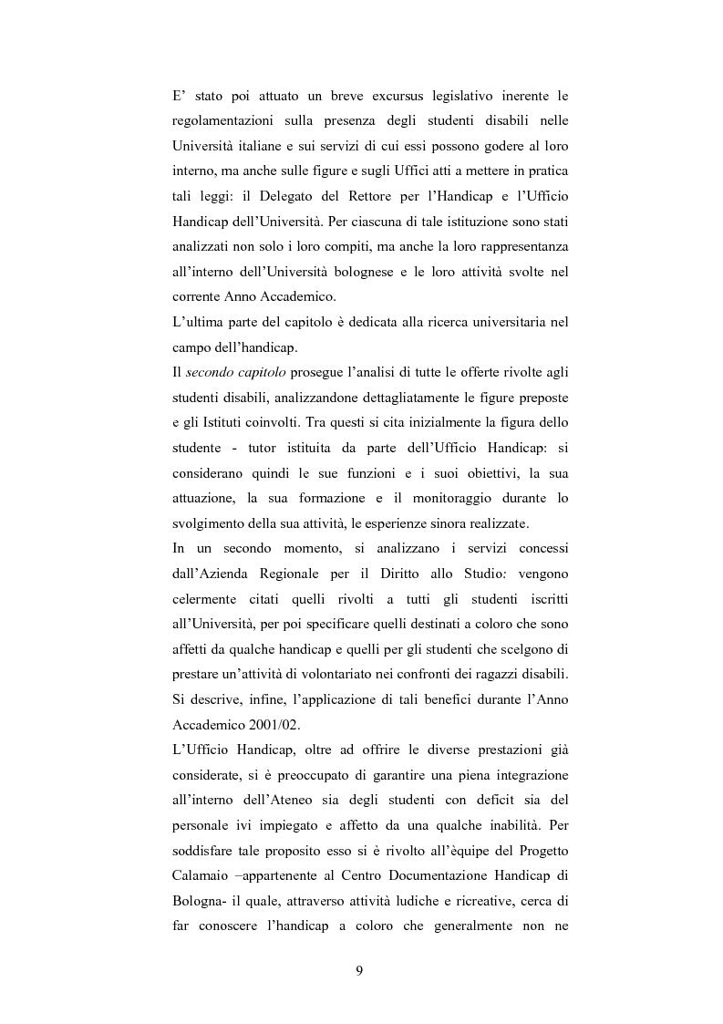 Anteprima della tesi: Università di Bologna ed handicap: chi studia valuta i servizi, Pagina 3