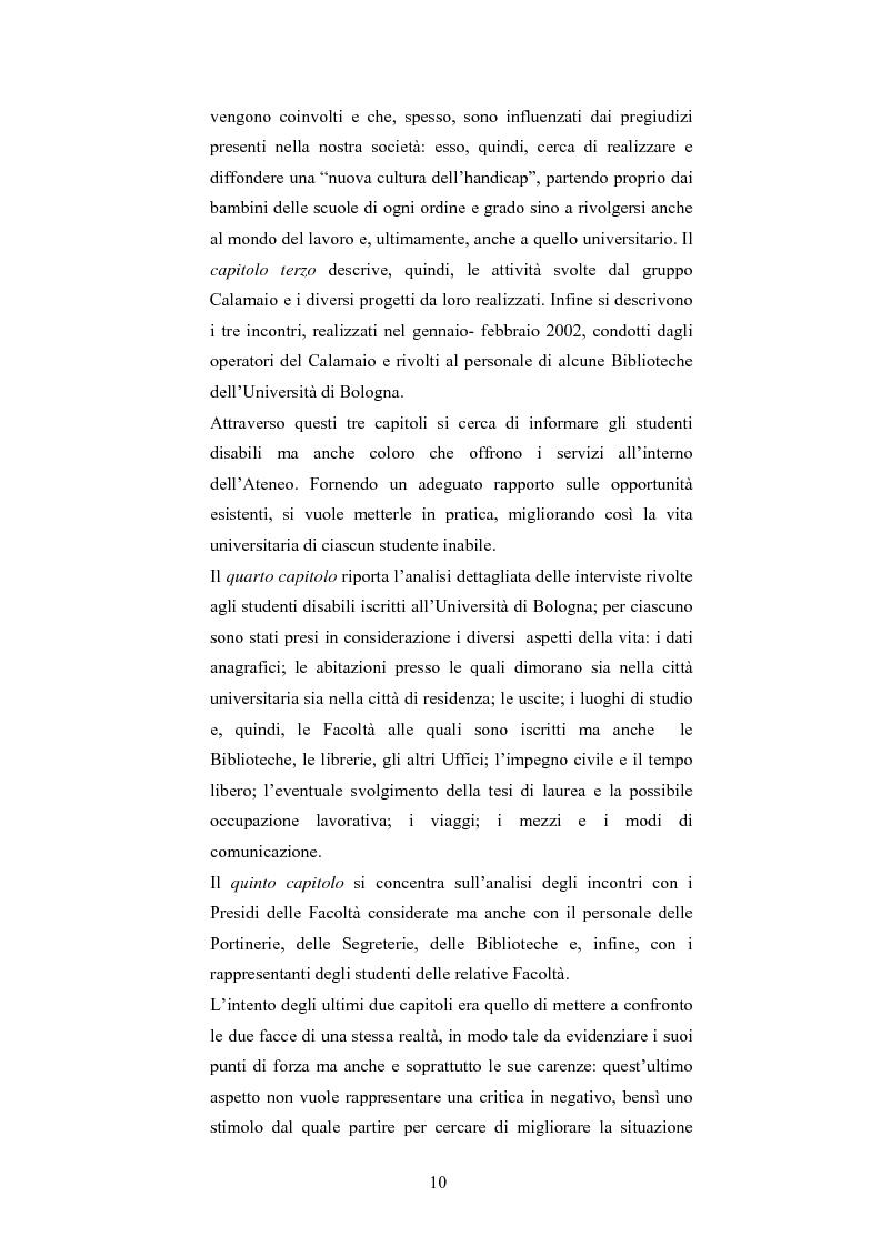 Anteprima della tesi: Università di Bologna ed handicap: chi studia valuta i servizi, Pagina 4